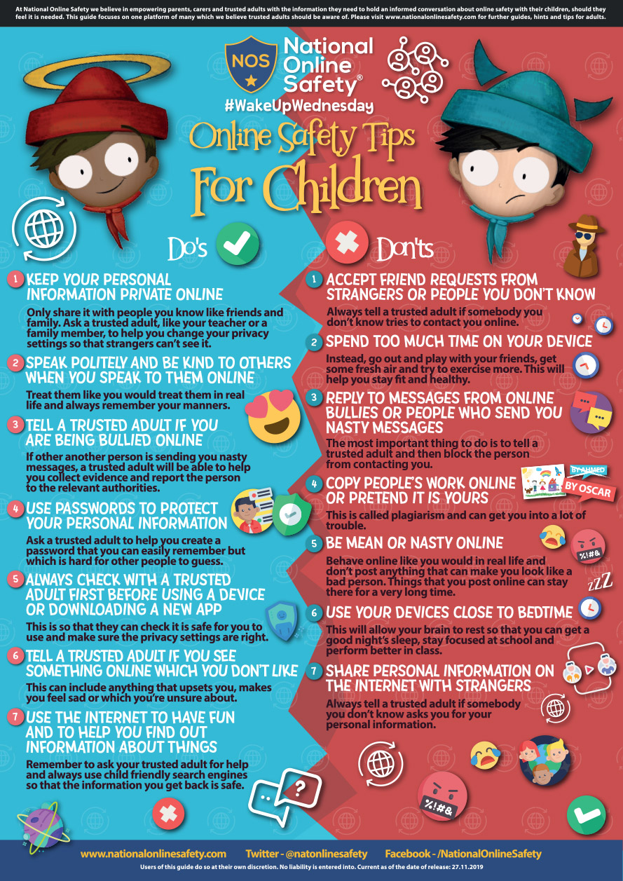Here's some online safety tips for children!